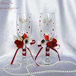 свадебный декор бокалов варианты оформления