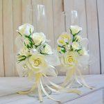 свадебный декор бокалов розами