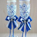 свадебный декор бокалов лентами