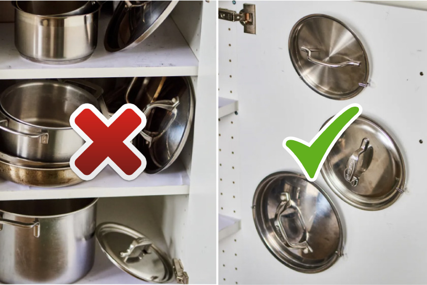 хранение крышек на кухне